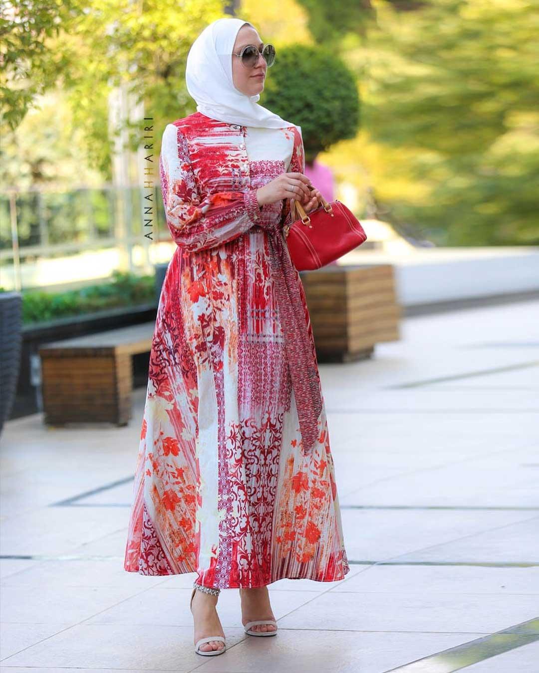فستان محجبات منقوش