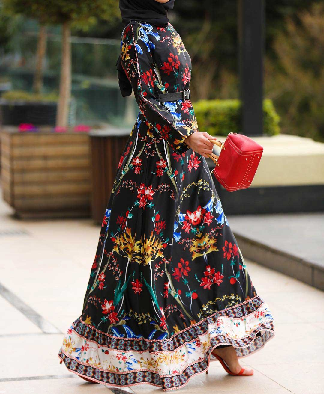 فستان محجبات كاجوال منقوش