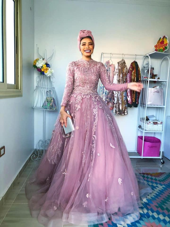 فستان سوارية كشمير تل مطرز