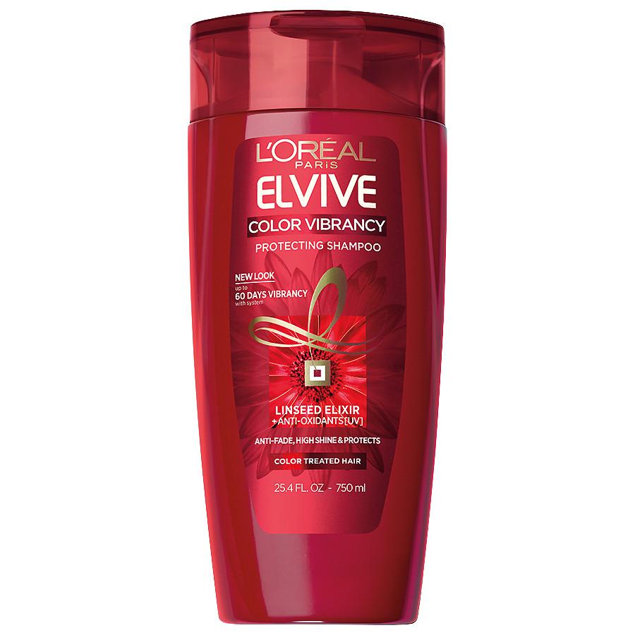 شامبو لوريال الأحمر للشعر المصبوغ والتالف - L'Oreal Paris Elvive Color Vibrancy Intensive Protecting Shampoo