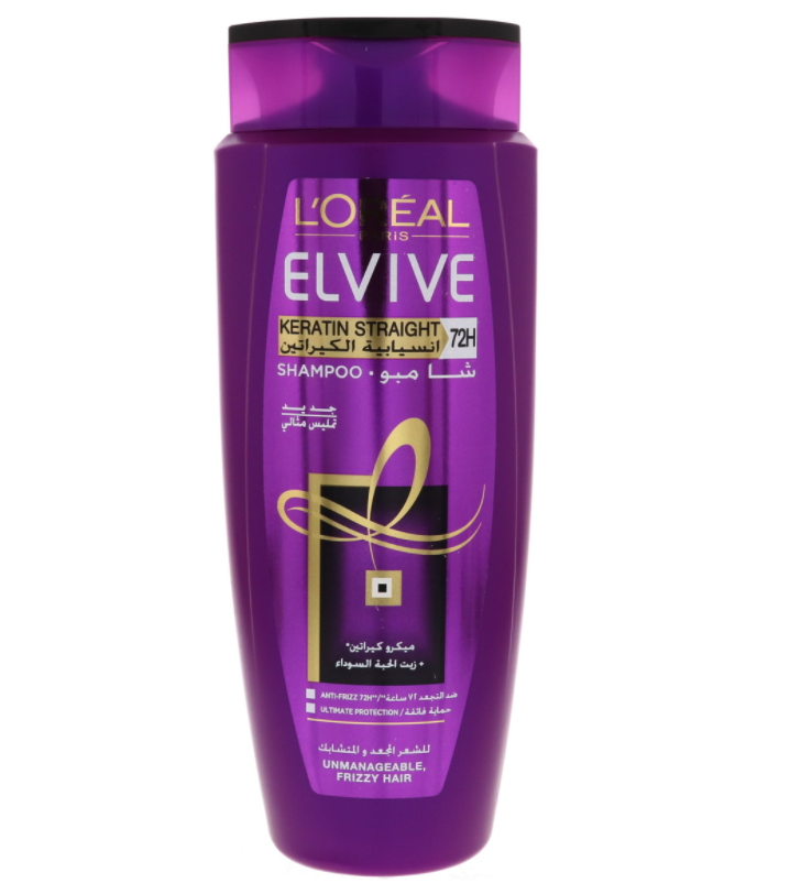 شامبو لوريال بالكيرياتين - شامبو لوريال البنفسجي - L'Oreal Paris Elvive Keratin Straight Shampoo