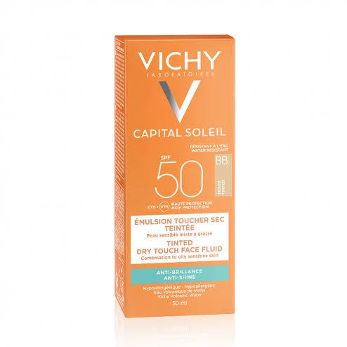 صن بلوك للبشرة الدهنية من فيشي SPF 50 BB Tinted Mattifying Face Fluid Dry Touch
